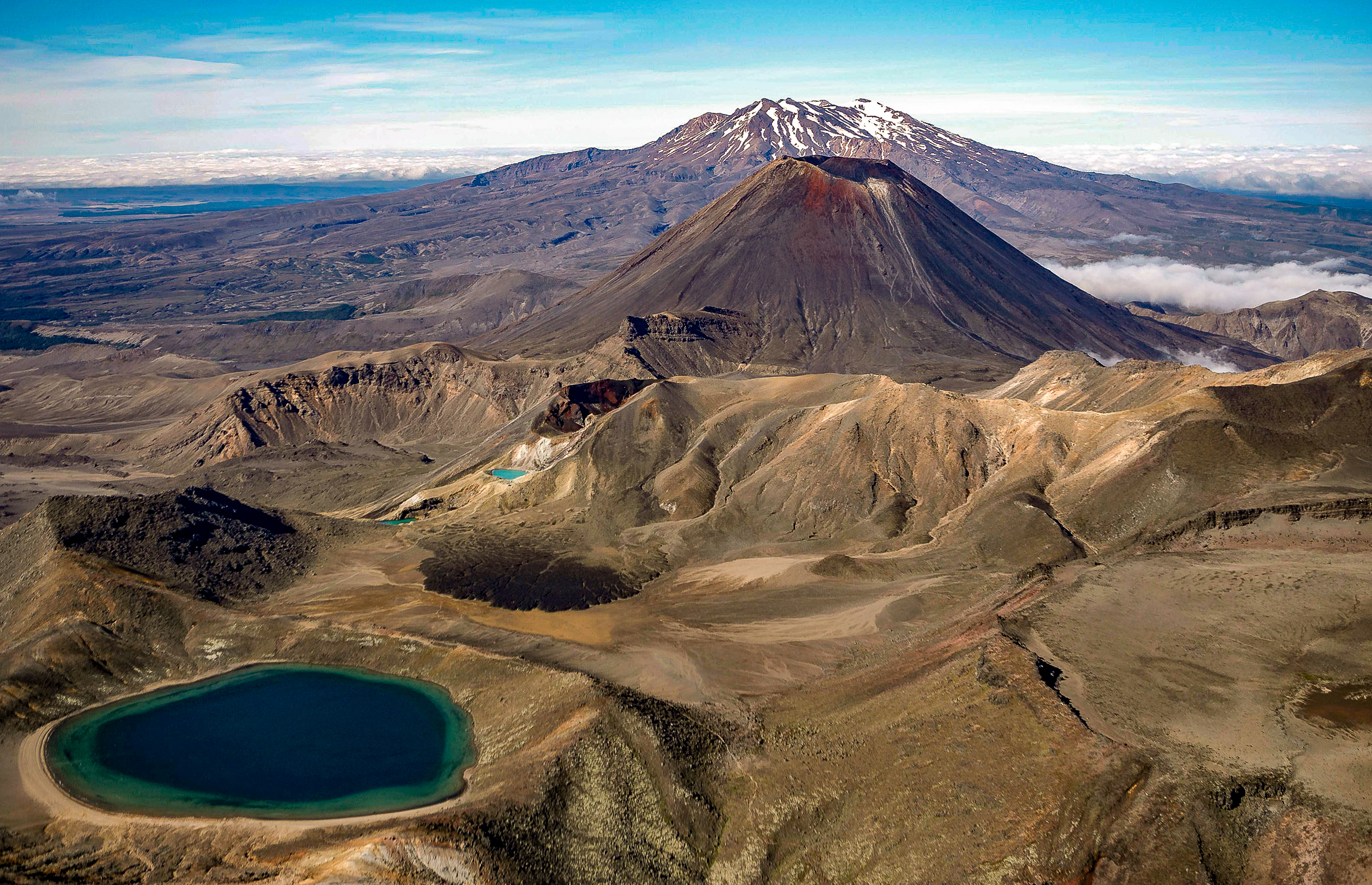 An aerial view of the Tongariro National Park volcanic massif in the central plateau of New Zealands' North Island